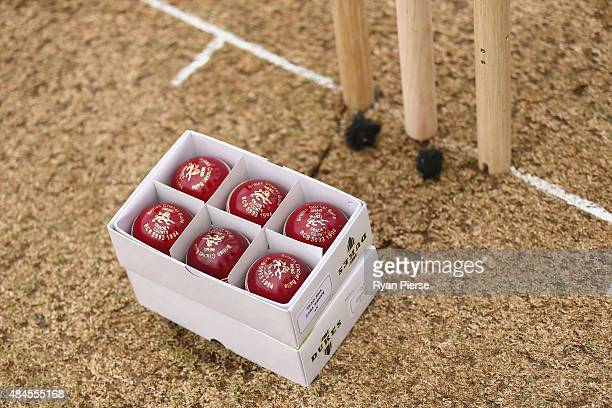 Duke cricket balls are seen during day one of the 5th Investec Ashes Test match between England and Australia at The Kia Oval on August 20 2015 in...