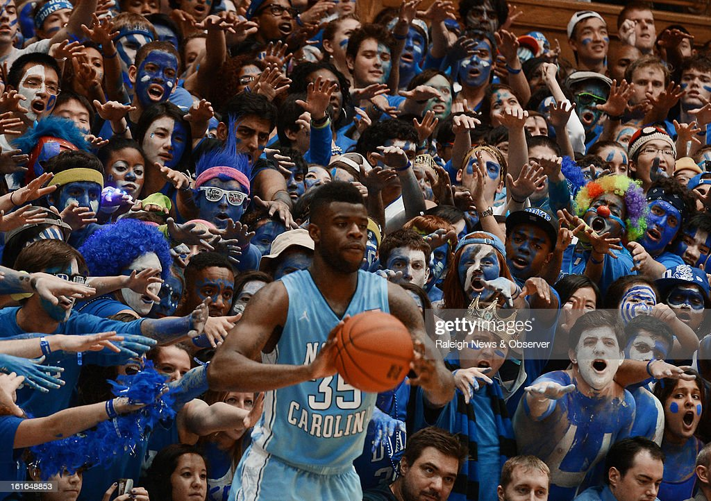 Duke fans give the business to North Carolina's Reggie Bullock (35) as he inbounds the ball in the second half at Cameron Indoor Stadium in Durham, North Carolina, on Wednesday, February 13, 2013. Duke edged North Carolina, 73-68.