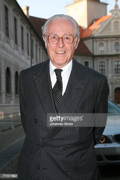 Duke Franz von Bayern arrives to a farewell reception for Bavaria's outgoing State Governor Edmund Stoiber at Munich Royal Residence on October 8 in...