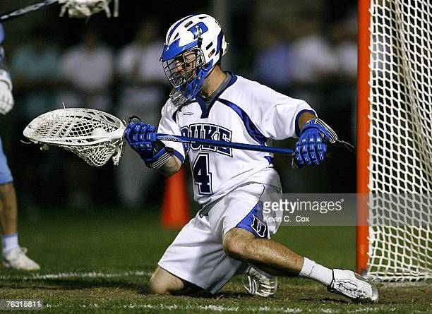 Duke goalkeeper Dan Loftus saves a shot by North Carolina during the semifinals of the 2007 ACC Men's Lacrosse Tournament Friday April 27 at Koskinen...