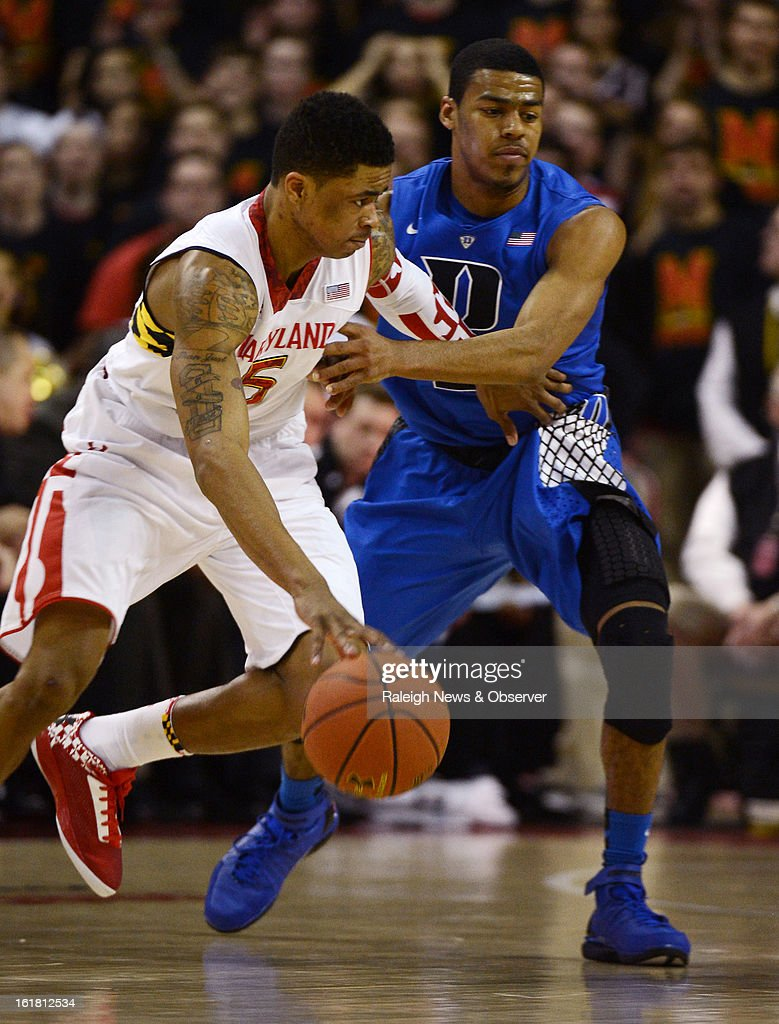 Duke guard Quinn Cook (2) pressures Maryland guard Nick Faust (5) in the first half at the Comcast Center in College Park, Maryland, Saturday, February 16, 2013.