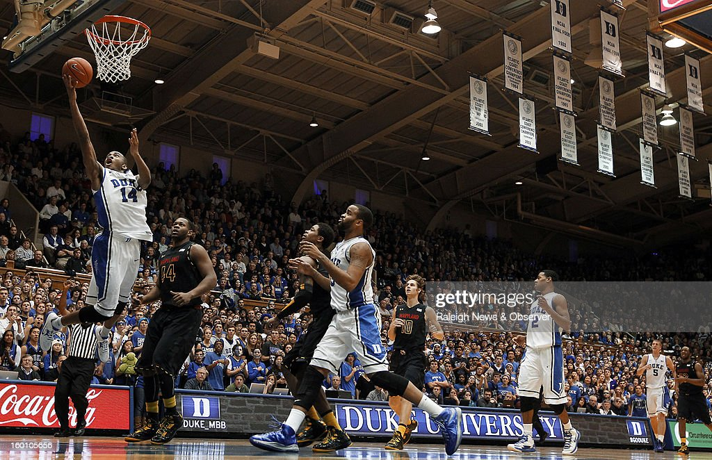 Duke guard Rasheed Sulaimon (14) scores two of his game high 25 points in the second half against Maryland at Cameron Indoor Stadium in Durham, North Carolina, Saturday, January 26, 2013. Duke defeated Maryland, 84-64.