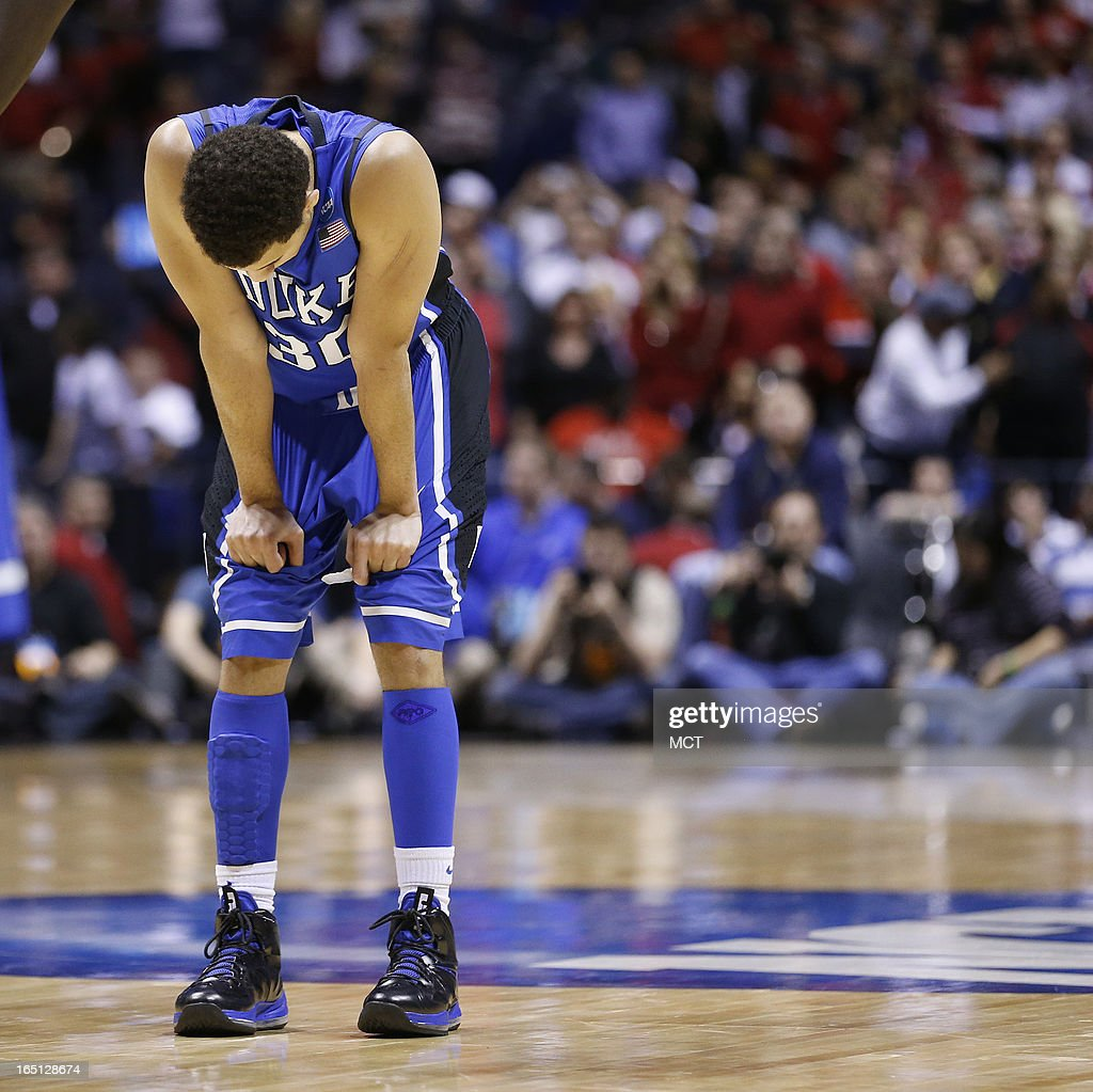 Duke guard Seth Curry (30) reacts to the loss in the final moments of the game in the NCAA regional final game on Sunday, March 31, 2013, in Indianapolis, Indiana. Louisville won the game 85-63. (Sam Riche/MCT via Getty Images)in the NCAA regional final game on Sunday, March 31, 2013, in Indianapolis, Indiana. Louisville won the game 85-63.