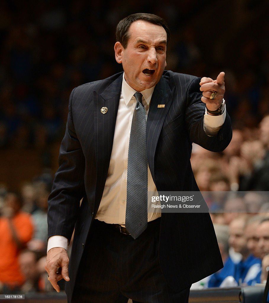 Duke head coach Mike Krzyzewski yells for a reserve to get in the game during second-half action against Virginia Tech on Tuesday, March 5, 2013, at Cameron Indoor Stadium in Durham, North Carolina. Duke beat Virginia Tech, 85-57.