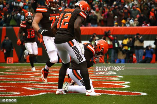 Duke Johnson of the Cleveland Browns celebrates a touchdown with Josh Gordon of the Cleveland Browns in the second quarter against the Green Bay...