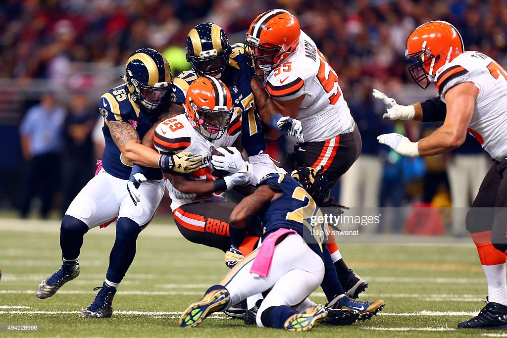 Duke Johnson #29 of the Cleveland Browns is tackled in the second quarter against the St. Louis Rams at the Edward Jones Dome on October 25, 2015 in St. Louis, Missouri.