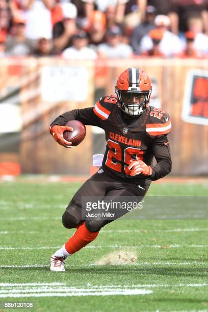 Duke Johnson of the Cleveland Browns runs the ball in the second half against the Tennessee Titans at FirstEnergy Stadium on October 22 2017 in...