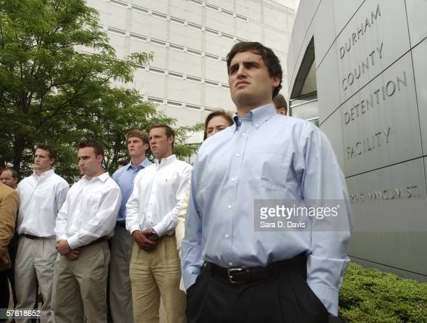 Duke lacrosse player David Evans 23yearsold stands alongside fellow teammates during a media conference outside the Durham County Detention Center...