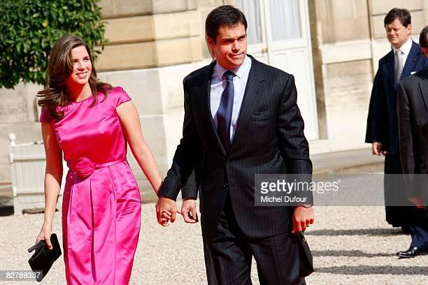 Duke of Anjou Louis Alphonse and his wife Maria Margarita de Vargas y Santaella arrive as The Pope visits Elysee palace on September 12 2008 in Paris...