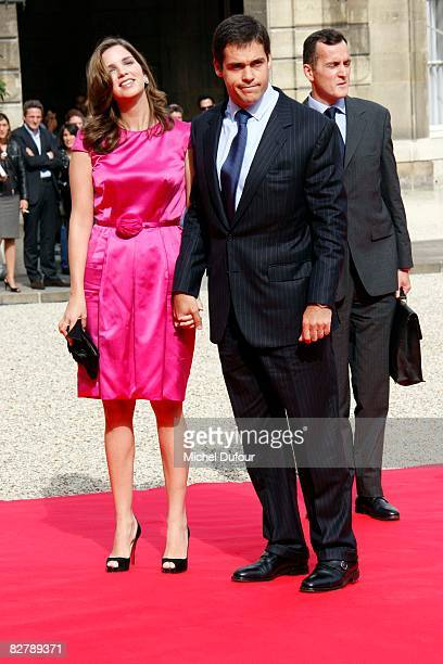 Duke of Anjou Louis Alphonse and his wife Maria Margarita de Vargas y Santaella arrive as The Pope visits Elysee palace on September 12 2008 in Paris...