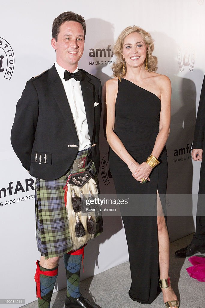 Duke of Argyll, Torquil Campbell and actress Sharon Stone attend the inaugural amfAR India event at the Taj Mahal Palace Mumbai on November 17, 2013 in Mumbai, India.