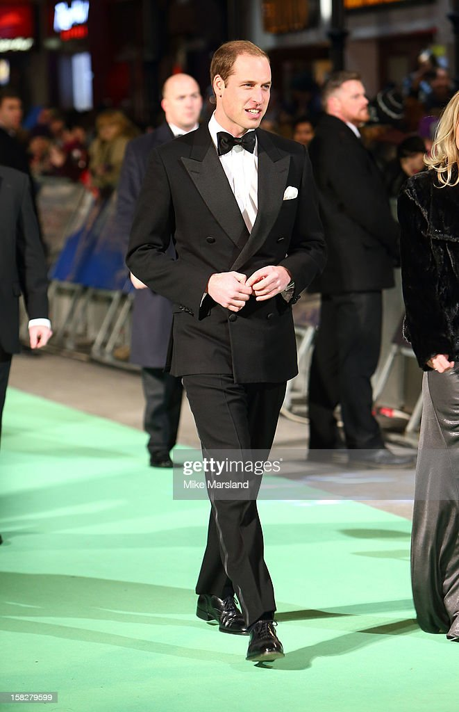 Duke of Cambridge attends the Royal Film Performance of 'The Hobbit: An Unexpected Journey' at Odeon Leicester Square on December 12, 2012 in London, England.