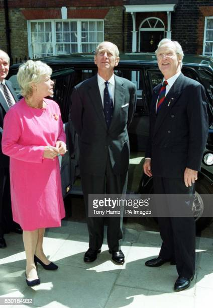 Duke of Edinburgh Patron and Twelfth Man with Judith Chalmers and Nicholas Parsons arrive to unveil a plaque to commemorate the opening of the new...
