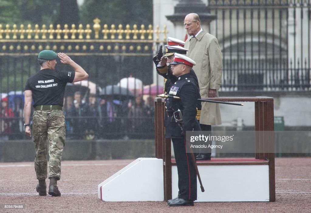 Duke of Edinburgh Prince Philip (R) attends his final public engagement Captain General's Parade to mark the finale of the 1664 Global Challenge at the Buckingham Palace Forecourt in London, United Kingdom on August 2, 2017.