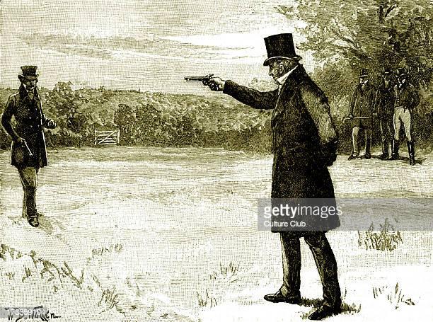 Duke of Wellington 's Duel with George FinchHatton 10th Earl of Winchilsea Battersea Fields on 21 March 1829 DW Arthur Wellesley 1st Duke of...