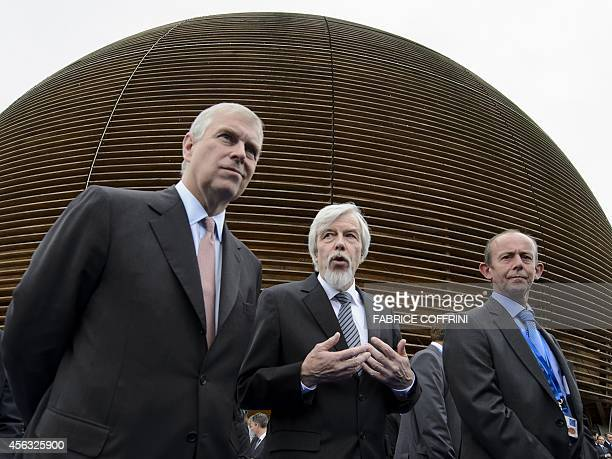 Duke of York Prince Andrew European Organisation for Nuclear Research director general Professor Rolf Heuer and CERN's head of beams Paul Collier...