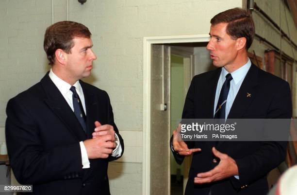 Duke of York talks to Squadron leader Andy Green in Thrust's hangar during a visit Farnborough Hants today The Duke spent more than an hour examining...
