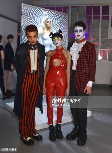 Duke Peterman guest and James attend a private view of artist Chemical X's new exhibition 'CX300' at The Vinyl Factory on September 28 2017 in London...