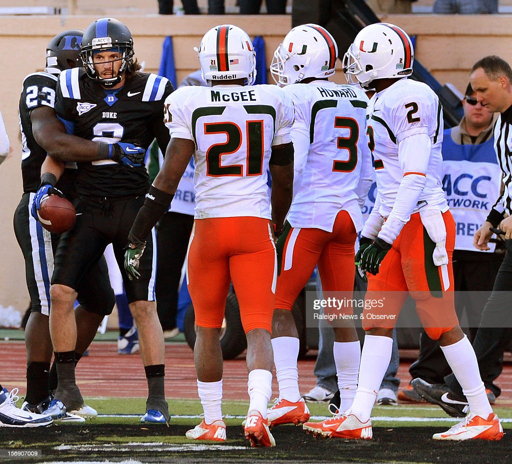 Duke wide receiver Conner Vernon (2) beats double coverage to score his second touchdown of the day at Wallace Wade Stadium Saturday Nov. 24, 2012.at Wallace Wade Stadium on Saturday, November 24, 2012, in Durham, North Carolina. The Miami Hurricanes defeated the Duke Blue Devils, 52-45.