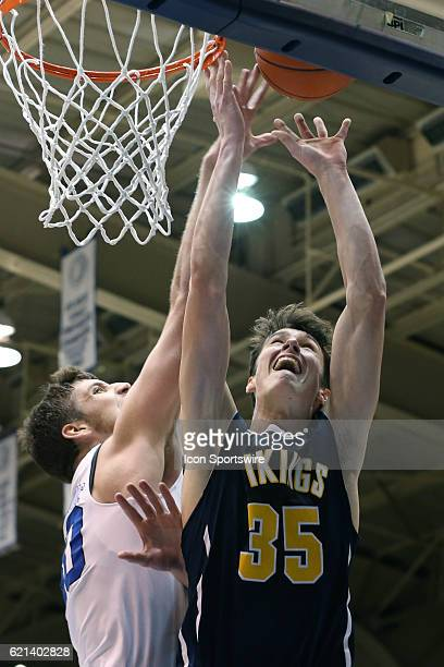 Duke's Antonio Vrankovic blocks a shot by Augustana's Lucas Walford The Duke University Blue Devils hosted the Augustana University Vikings on...
