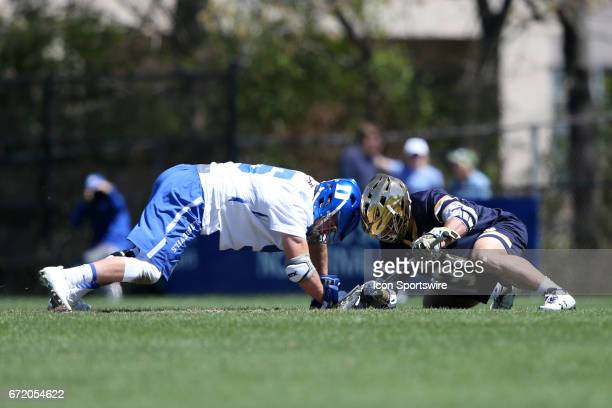 Duke's Kyle Rowe and Notre Dame's PJ Finley challenge for a draw The Duke University Blue Devils hosted the University of Notre Dame Fighting Irish...