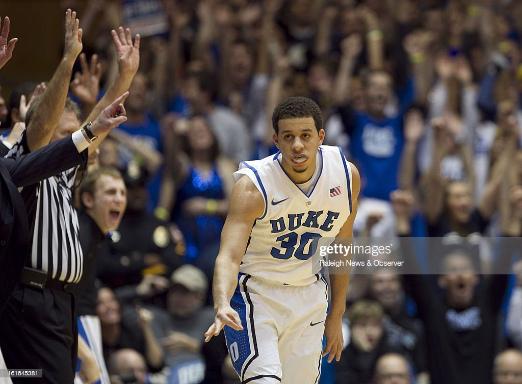 Duke's Seth Curry (30) reacts after sinking a 3-point shot in the second half against North Carolina at Cameron Indoor Stadium in Durham, North Carolina, on Wednesday, February 13, 2013. Duke edged North Carolina, 73-68.