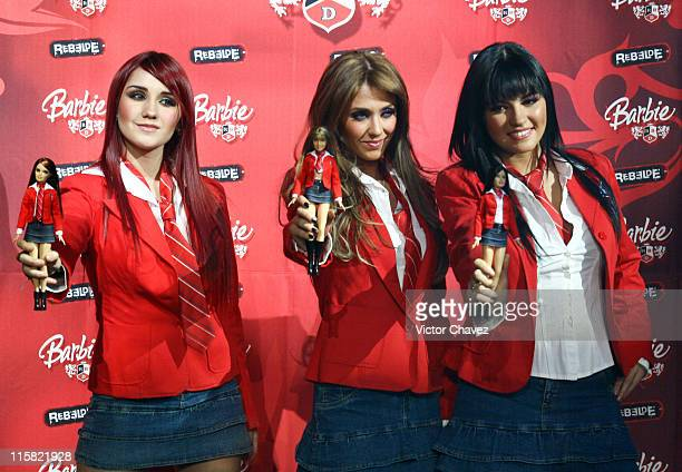 Dulce María Anahí and Maite of RBD during 'Barbie RBD' Mattel Launch May 29 2007 at Velvet Club in Mexico City Mexico