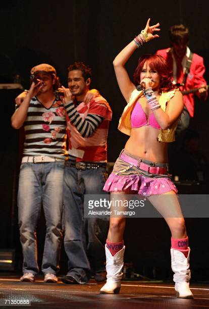 Dulce Maria Espinoza Savinon of the group RBD performs at American Airlines Arena on July 1 2006 in Miami Florida