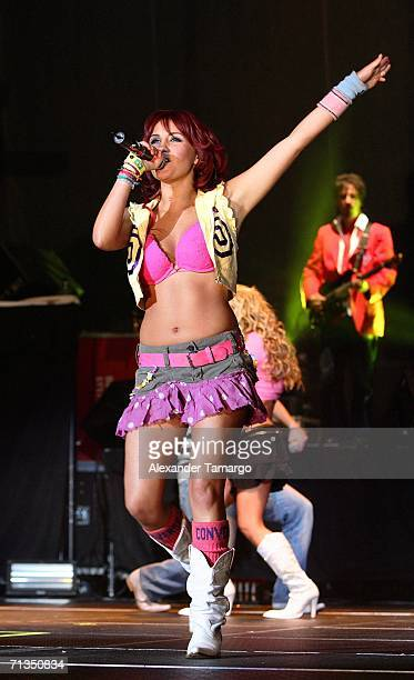 Dulce Maria Espinoza Savinon of the group RBD performs at the American Airlines Arena on July 1 2006 in Miami Florida