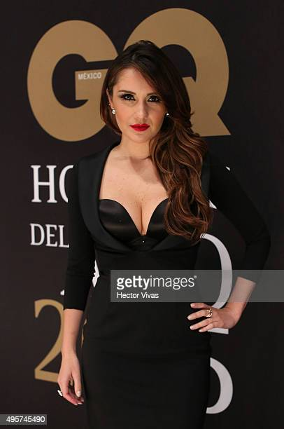 Dulce Maria poses during the red carpet of GQ Mexico Men of The Year 2015 Awards at Live Aqua on November 04 2015 in Mexico City Mexico