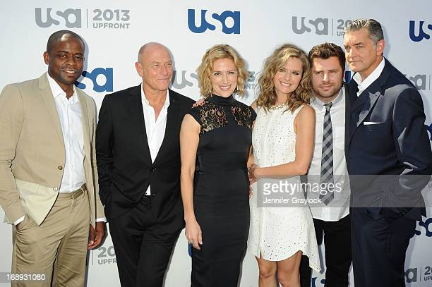 Dule Hill Corbin Bernsen Kirsten Nelson Maggie Lawson James Roday and Timothy Omundson attend the USA Network 2013 Upfront event at Pier 36 on May 16...