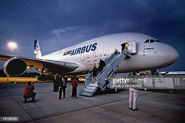 A nighttime exposure of the Airbus 380 the new doubledecker 555 passenger jet is opened to employees and members of the media early 26 March 2007 at...