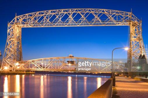 Duluth lift bridge in Minnesota on Lake Superior.