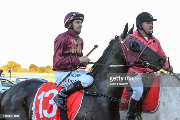 Dulverton ridden by Dwayne Dunn returns to scale after the The Cove Handicap at Ladbrokes Park Lakeside Racecourse on July 12 2017 in Springvale...