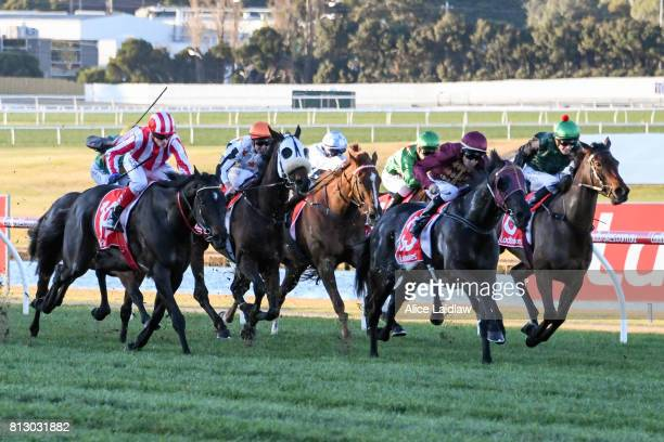 Dulverton ridden by Dwayne Dunn wins the The Cove Handicap at Ladbrokes Park Lakeside Racecourse on July 12 2017 in Springvale Australia