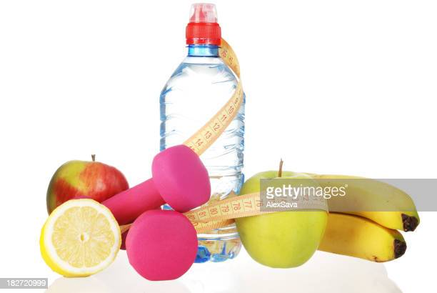 dumbbells and fruits