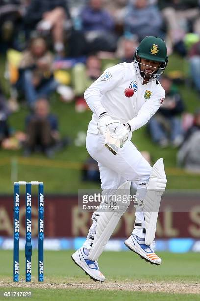Duminy of South Africa bats during day four of the First Test match between New Zealand and South Africa at University Oval on March 11 2017 in...