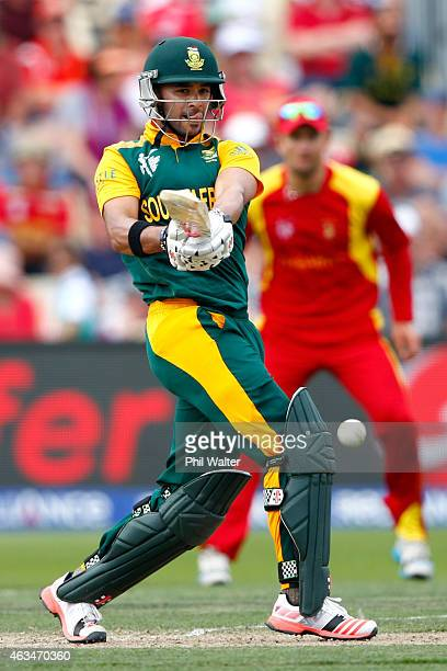 Duminy of South Africa bats during the 2015 ICC Cricket World Cup match between South Africa and Zimbabwe at Seddon Park on February 15 2015 in...