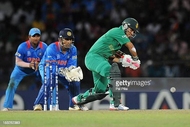 Duminy of South Africa bats during the ICC World Twenty20 2012 Super Eights Group 2 match between South Africa and India at R Premadasa Stadium on...