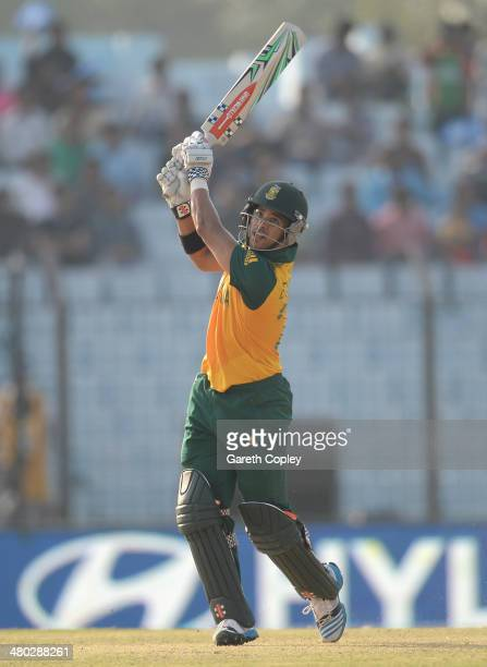 Duminy of South Africa bats during the ICC World Twenty20 Bangladesh 2014 Group 1 match between New Zealand and South Africa at Zahur Ahmed Chowdhury...