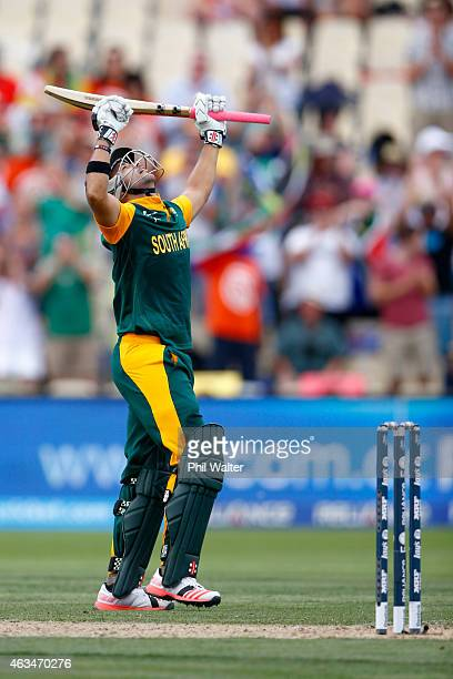 Duminy of South Africa celebrates his century during the 2015 ICC Cricket World Cup match between South Africa and Zimbabwe at Seddon Park on...