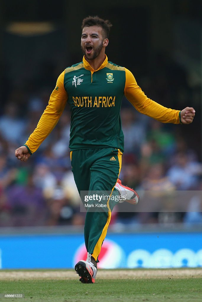 <a gi-track='captionPersonalityLinkClicked' href=/galleries/search?phrase=JP+Duminy&family=editorial&specificpeople=3640895 ng-click='$event.stopPropagation()'>JP Duminy</a> of South Africa celebrates taking the wicket of Tharindu Kaushal of Sri Lanka during the 2015 ICC Cricket World Cup match between South Africa and Sri Lanka at Sydney Cricket Ground on March 18, 2015 in Sydney, Australia.