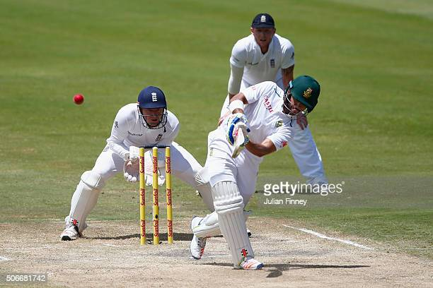 Duminy of South Africa hits out as Jonny Bairstow of England keeps wicket during day four of the 4th Test at Supersport Park on January 25 2016 in...