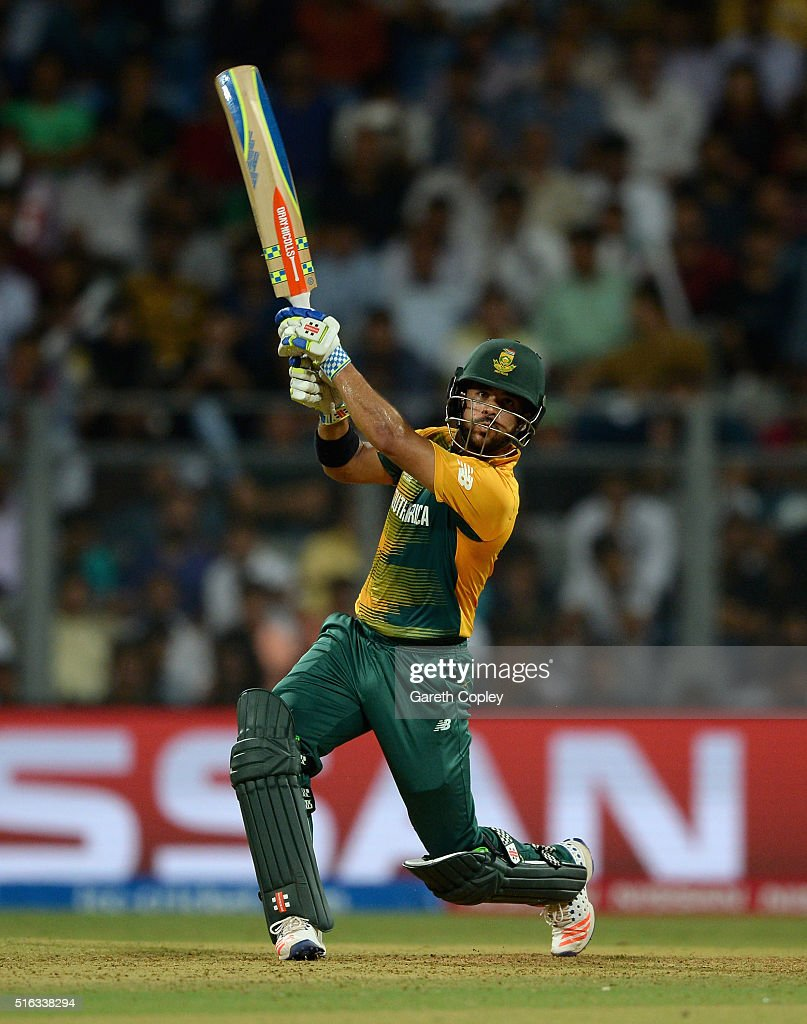 <a gi-track='captionPersonalityLinkClicked' href=/galleries/search?phrase=JP+Duminy&family=editorial&specificpeople=3640895 ng-click='$event.stopPropagation()'>JP Duminy</a> of South Africa hits out for six runs during the ICC World Twenty20 India 2016 Super 10s Group 1 match between South Africa and England at Wankhede Stadium on March 18, 2016 in Mumbai, India.