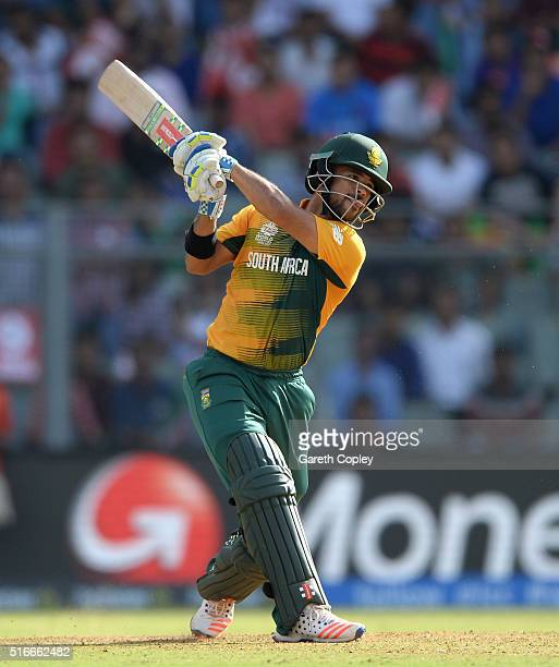 Duminy of South Africa hits out for six runs during the ICC World Twenty20 India 2016 Super 10s Group 1 match between South Africa and Afghanistan at...