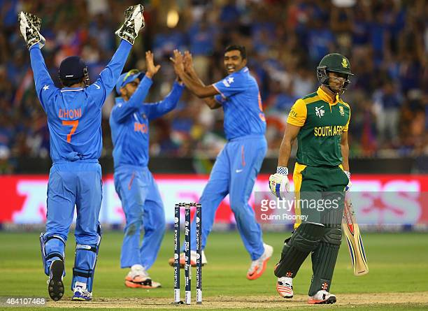 Duminy of South Africa leaves the field after being dismissed by Ravichandran Ashwin of India during the 2015 ICC Cricket World Cup match between...