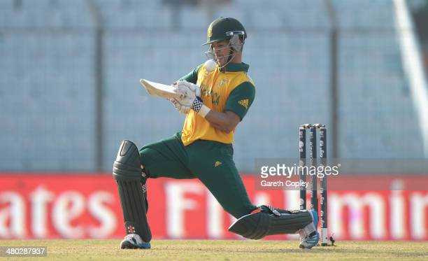 Duminy of South Africa plays a ramp shot during the ICC World Twenty20 Bangladesh 2014 Group 1 match between New Zealand and South Africa at Zahur...