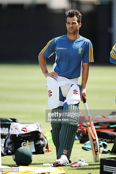 Duminy of South Africa waits to bat during a South African T20 training session at Adelaide Oval on November 4 2014 in Adelaide Australia