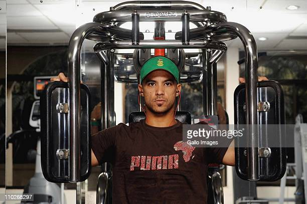 Duminy of South Africa works out in the gym during the South Africa national cricket team offbeat session at the Sheraton Hotel on March 17 2011 in...