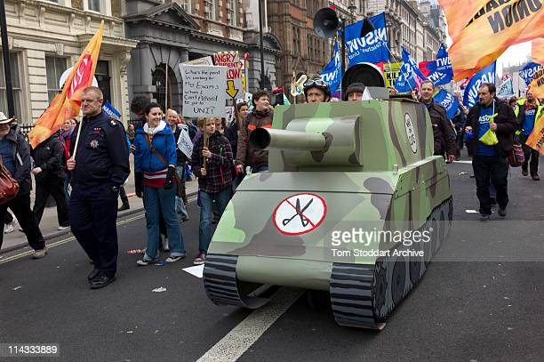 A dummy tank at the March for the Alternative organised by the Trades Unions Congress when up to half a million people marched through London to...